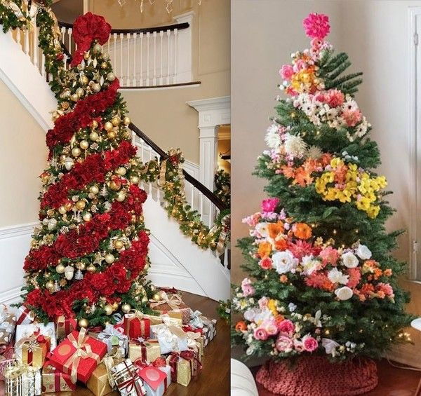 People Are Decorating Christmas Trees With Flowers And It