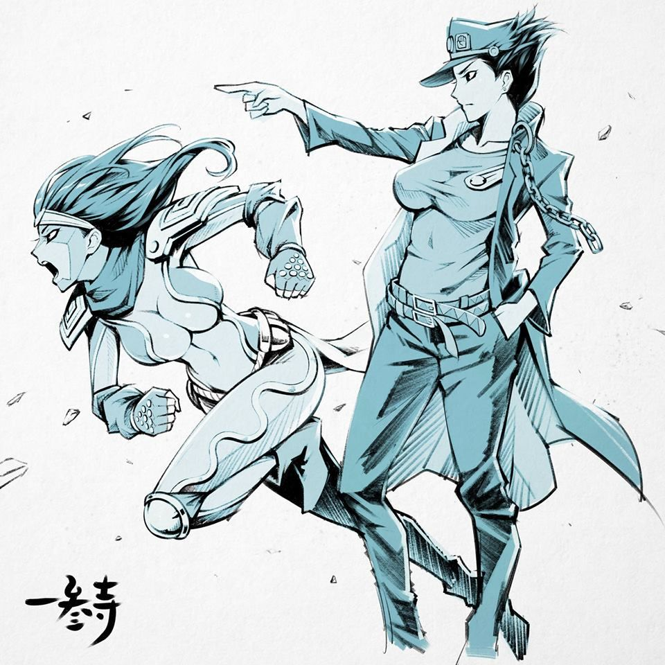 Nice reversed gender fan art of Jotaro Kujo and his Stand