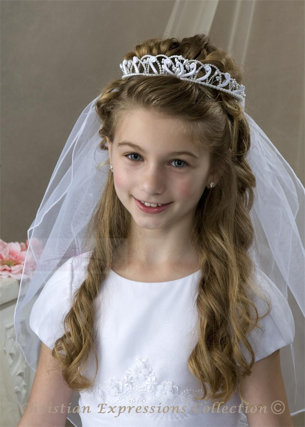 Fantastic First Communion Crown Veils V890 First Communion Veils First Hairstyles For Men Maxibearus