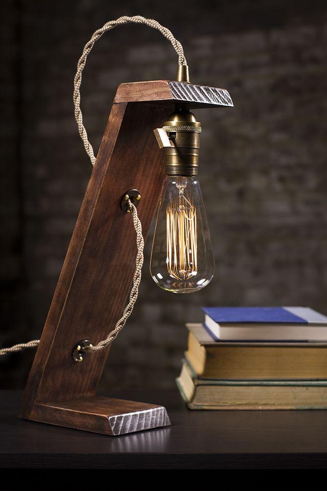 The Lean Lamp Desk Lamp Edison Light Wooden Edison Lamp Wooden Lamps Design Edison Table Lamp Diy Lamp
