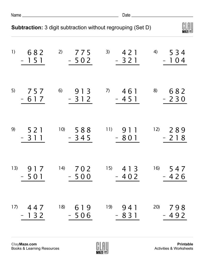 Subtraction Worksheet 3 Digit Subtraction Without Regrouping