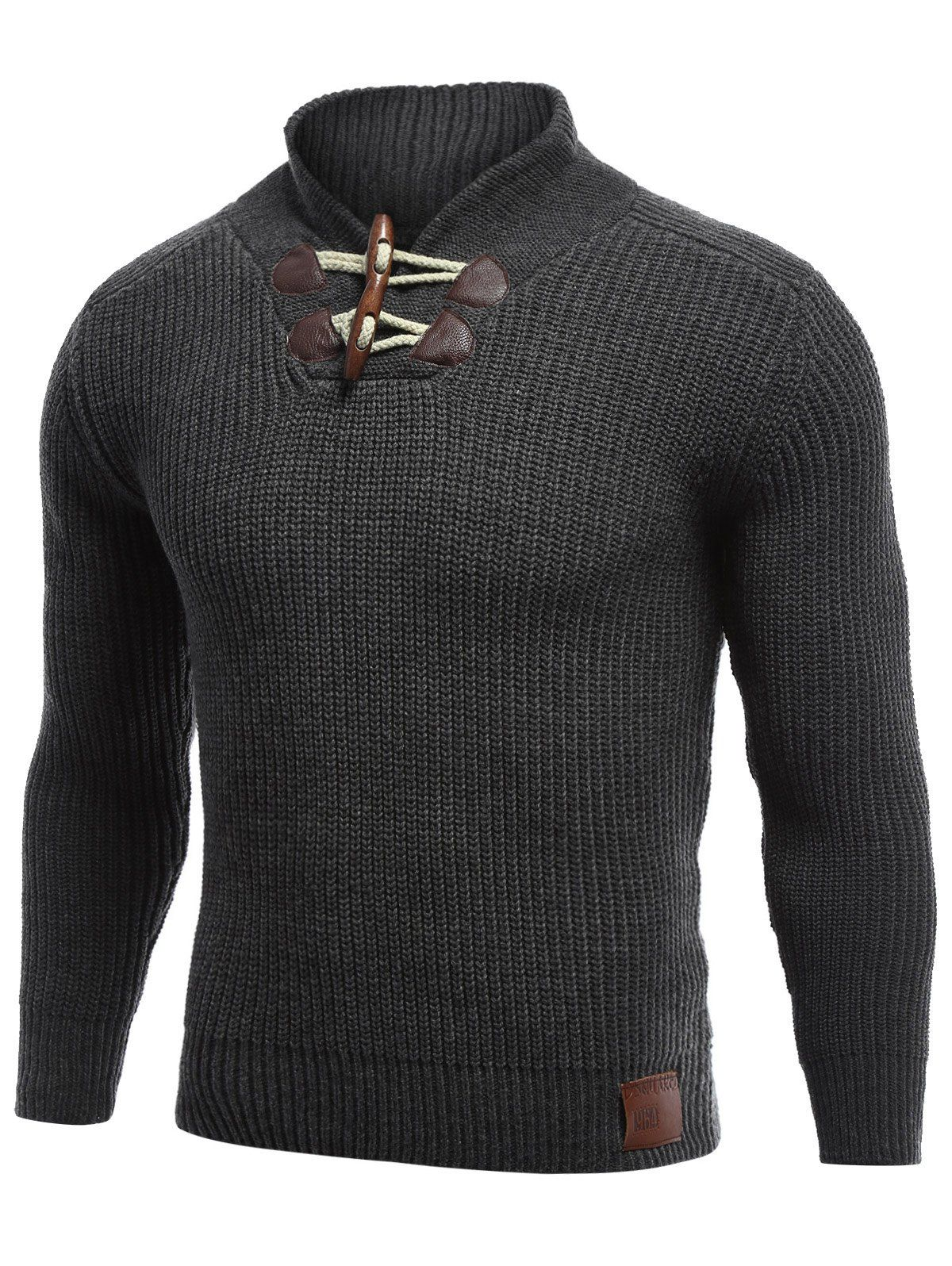 Flat Knitted Pullover Toggle Sweater | Pullover, Black and Men's ...