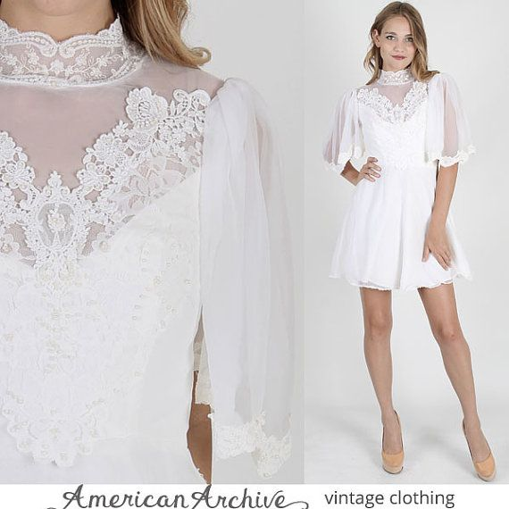 vintage 60s Sheer White Lace Dress Wedding by americanarchive