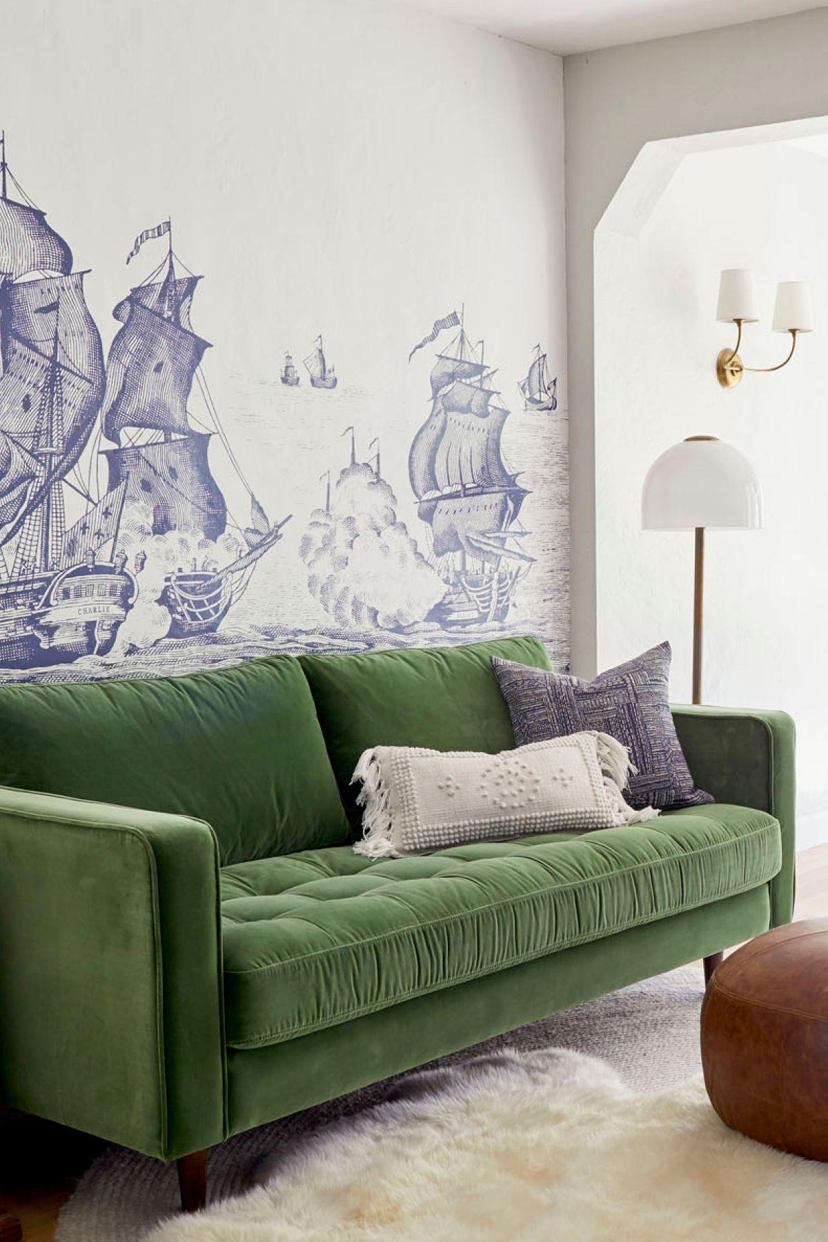 Sven Grass Green Sofa In 2020 Green Sofa Green Velvet Sofa Velvet Furniture