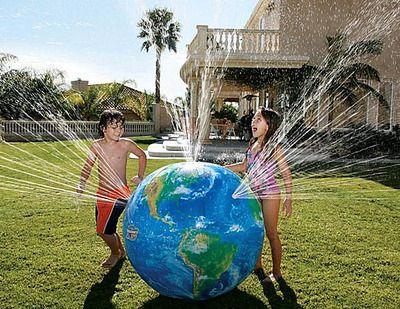 "48"" Inflatable ASTRONAUTS VIEW Earth Globe Sprinkler Ball - Water Sprayer - D & L Toys LLC - ""BEACHBALLWORLD"""