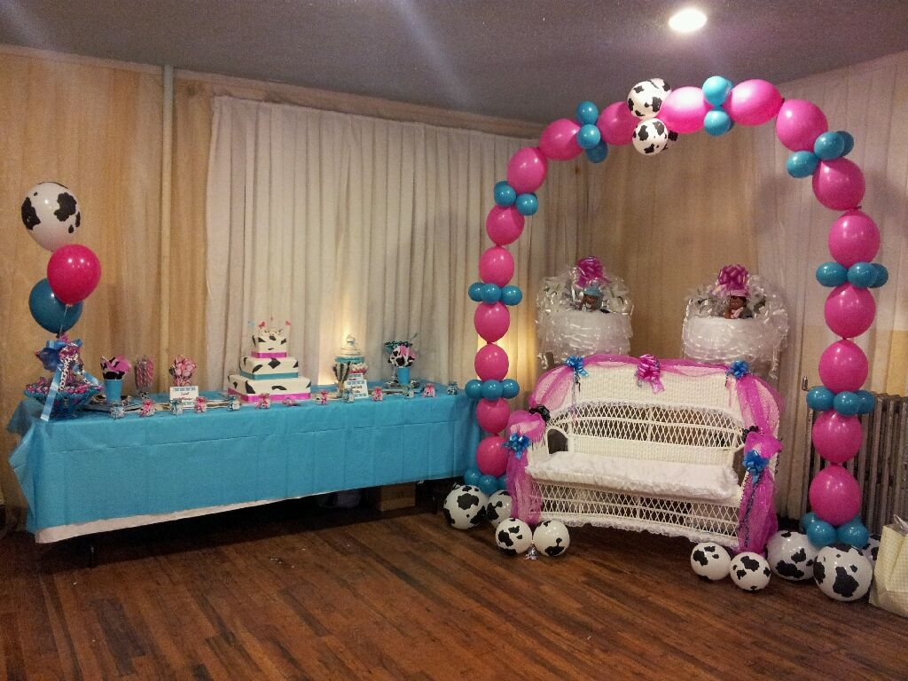 Cow print Baby Shower Arch & Bench