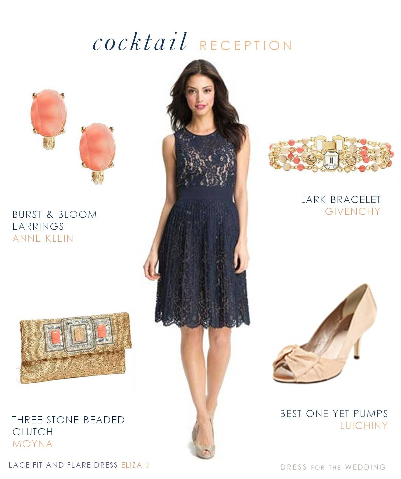 Navy lace dress navy cocktail dress coral accessories for Cocktail wedding guest dresses