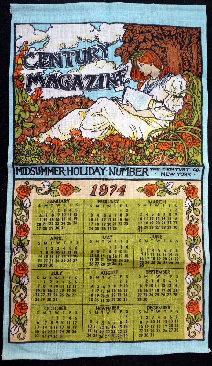 1974 Vintage Calendar Tea Towel Linen Century Magazine Twlc130