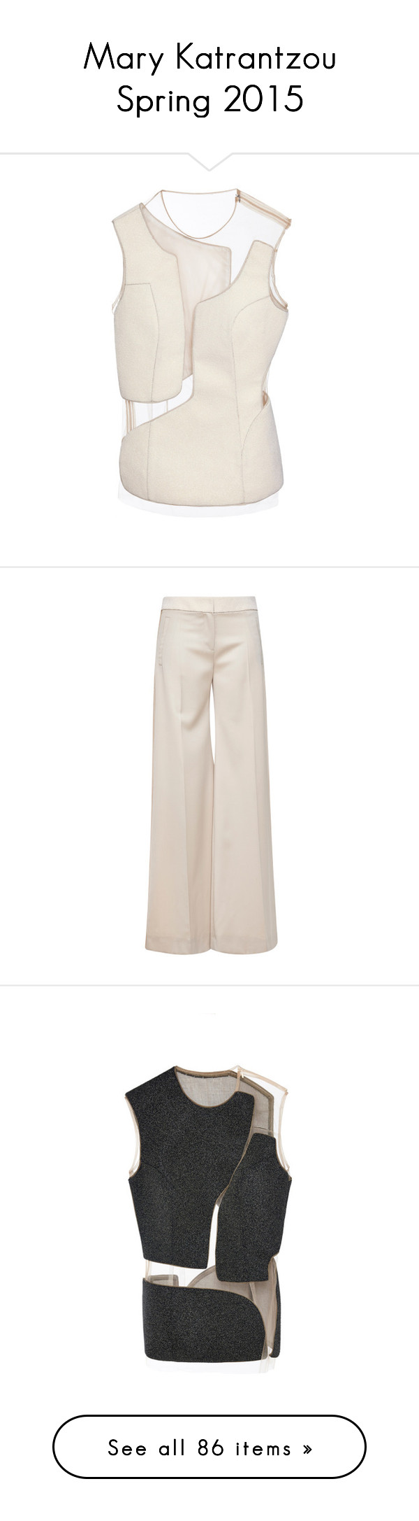 """Mary Katrantzou Spring 2015"" by naseebs ❤ liked on Polyvore featuring marykatrantzou, Spring2015, SS2015, tops, shirts, ivory, asymmetrical top, beaded top, sleeveless shirts and asymmetrical sleeveless tops"