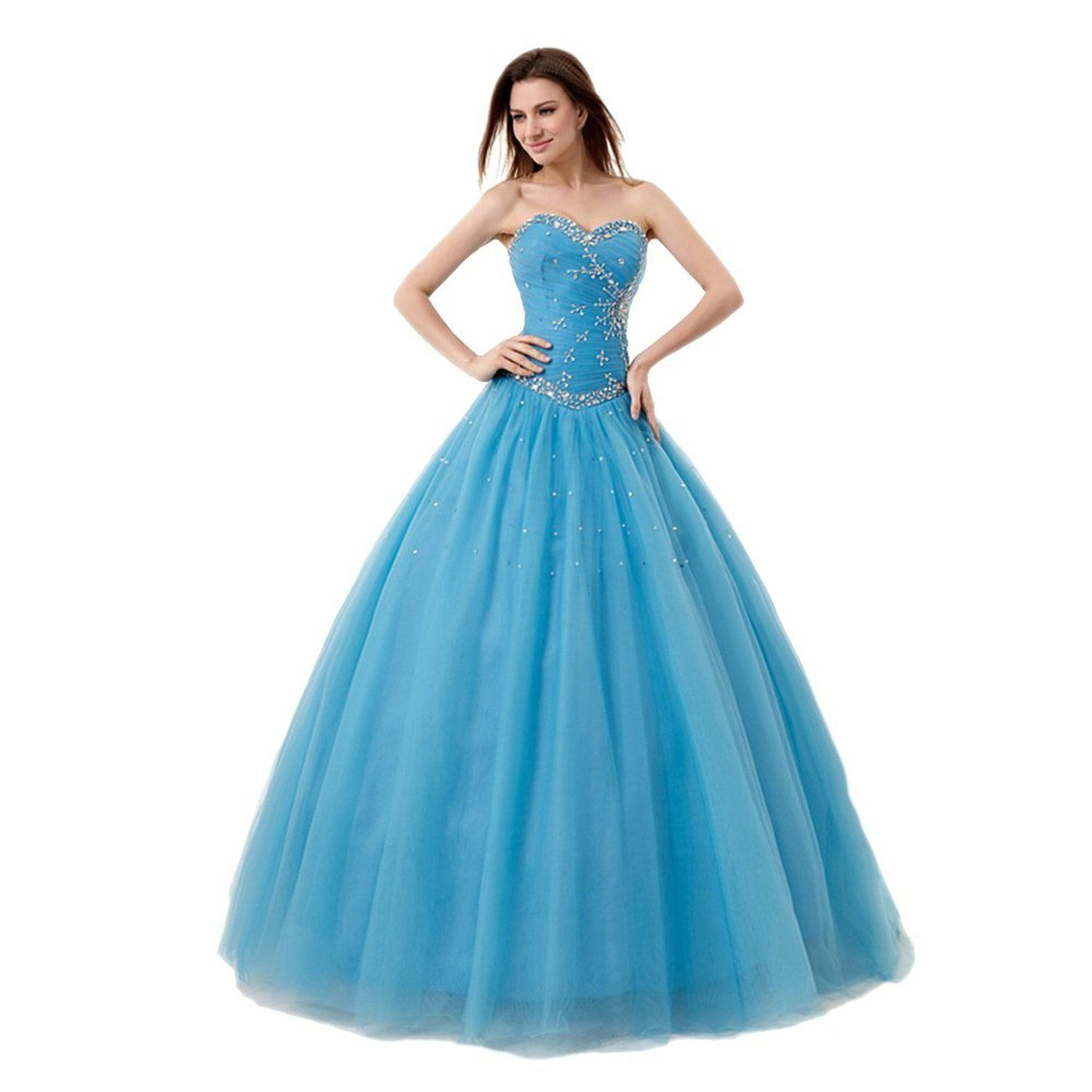 Crystal dresses womenus sweetheart beading tulle long prom dresses