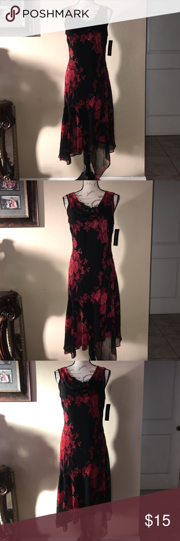 Shear Black Dress With Rose Roses And Black Beads Dresses Connected Apparel Dress Black Dress [ 1740 x 580 Pixel ]