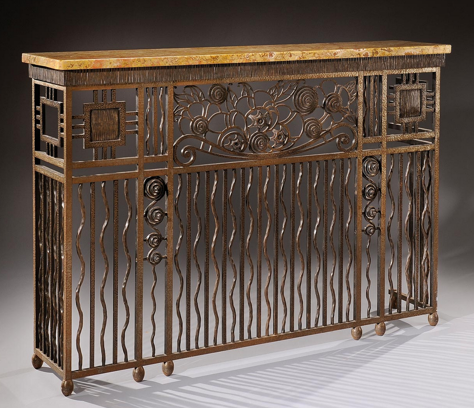 Wrought Iron Console Forming Radiator Cover Marble Top