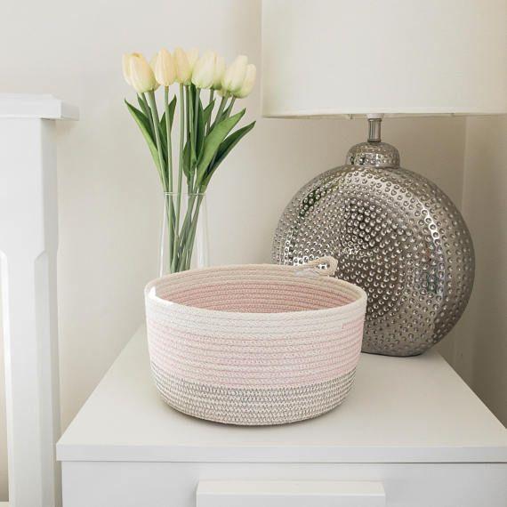 Rope Basket Pink Grey Storage Bowl Cotton Nursery Gift Idea Housewarming Organiser Jewellery