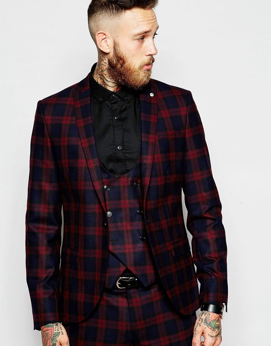 Image 1 of Noose & Monkey Tartan Suit Jacket With Stretch in Super ...