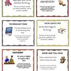 This is a set of 18 positive behavior reward coupons. I use this along with a ticket system. I hand out tickets to my students each time I see them...