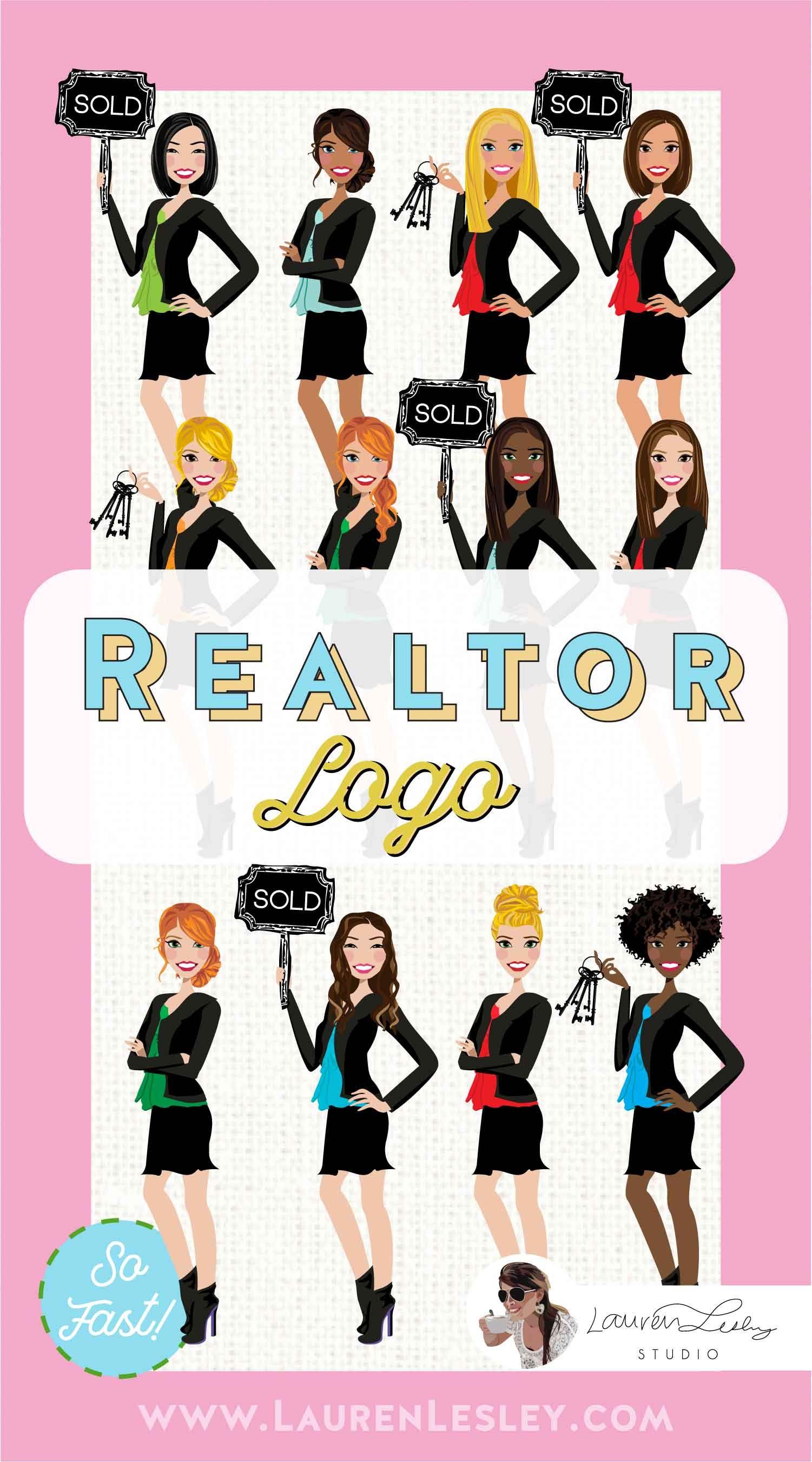Custom Portrait Illustration of Realtor, Amber Marketing