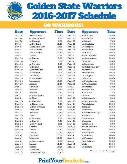 photo about Warriors Printable Schedule called Golden Region Warriors Program Printable NBA Schedules