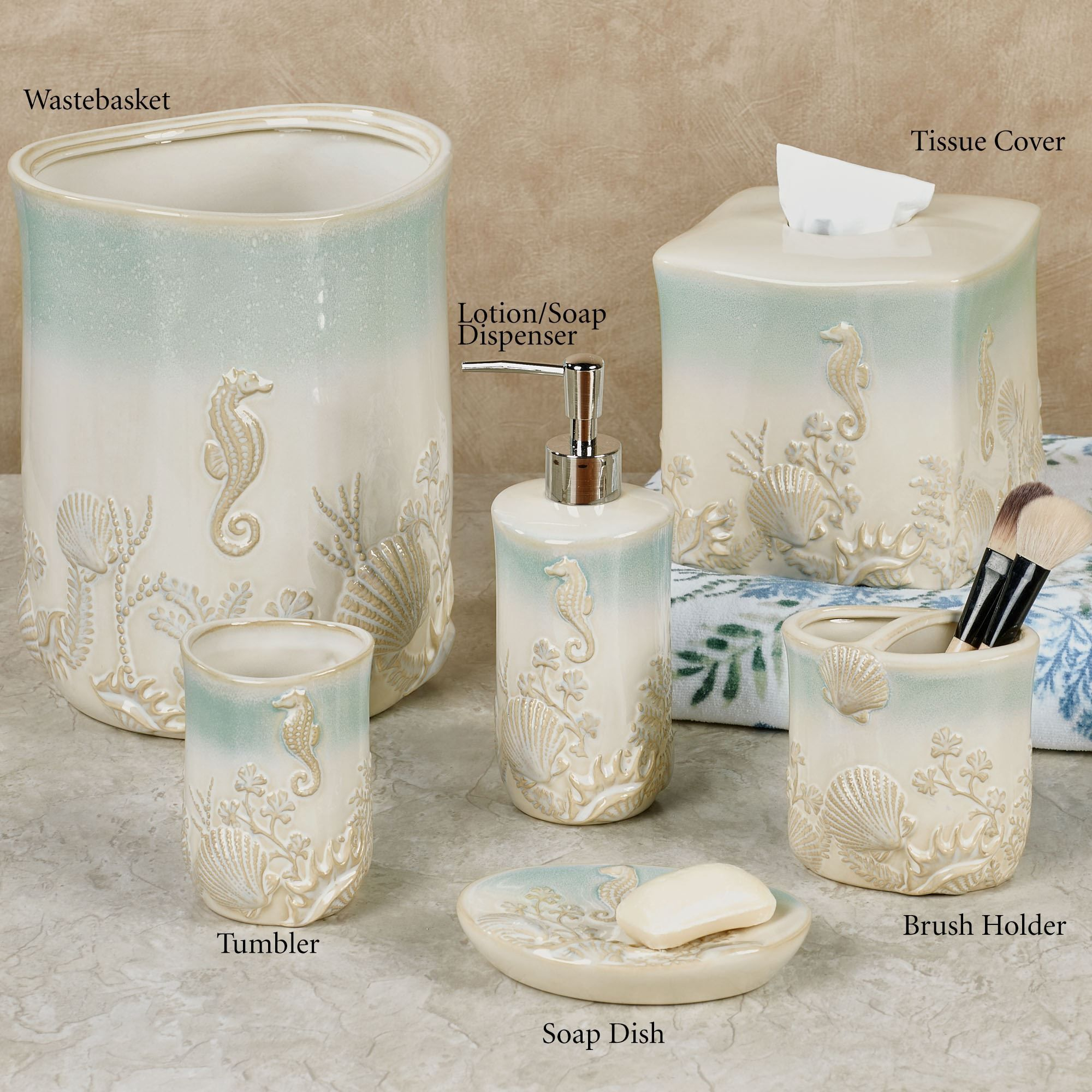 Pearl Seaweed Ombre Ocean Themed Bath Accessories Ocean Bathroom Decor Beach Bathroom Decor Bath Accessories