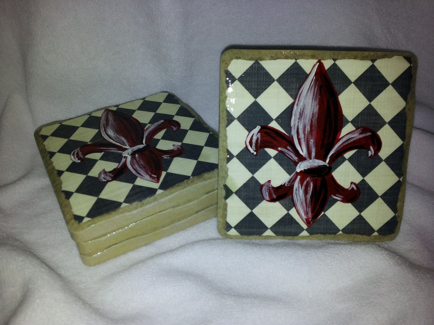 Red Handpainted Fleur de Lis on a Black and White