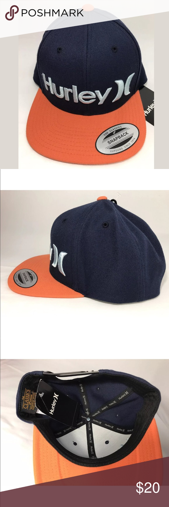 d51bbb546e303 Hurley Yupoong Snapback Navy Blue Orange Hat Cap Hurley Yupoong The Classics  Snapback One And Only