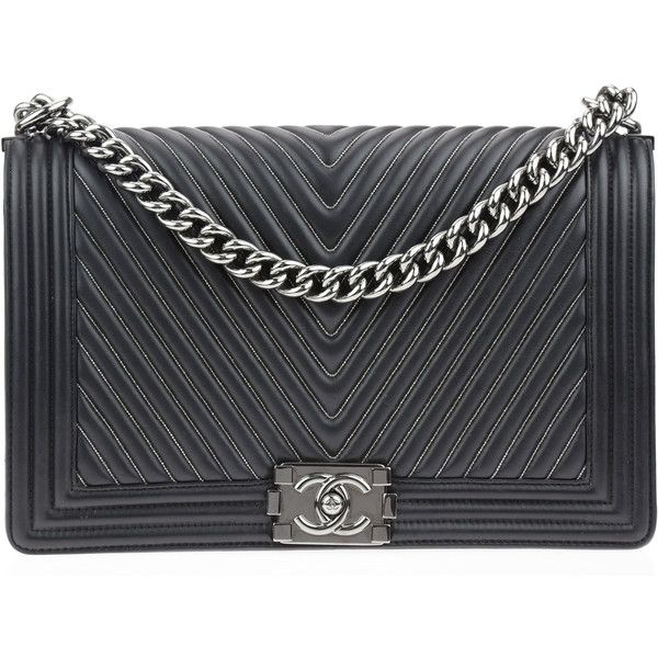 6dce9b381c Pre-owned Chanel Black Chain Chevron Calfskin New Medium Boy Bag ($4,500) ❤  liked on Polyvore featuring bags, handbags, flap handbags, pre owned  handbags, ...