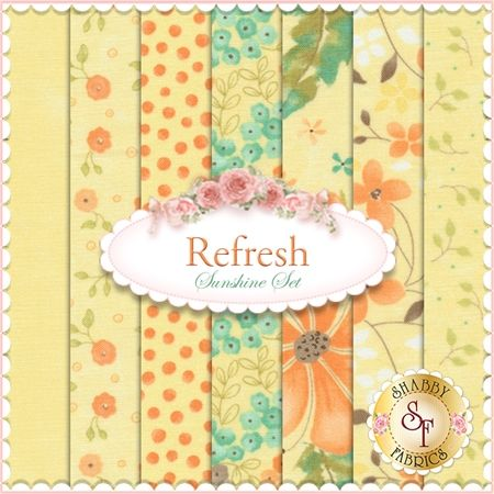 "Refresh 7 FQ Set - Sunshine Set by Sandy Gervais for Moda Fabrics Refresh is a bright collection by Sandy Gervais for Moda Fabrics. 100% cotton. This set contains 7 fat quarters, each measuring approximately 18"" x 21""."