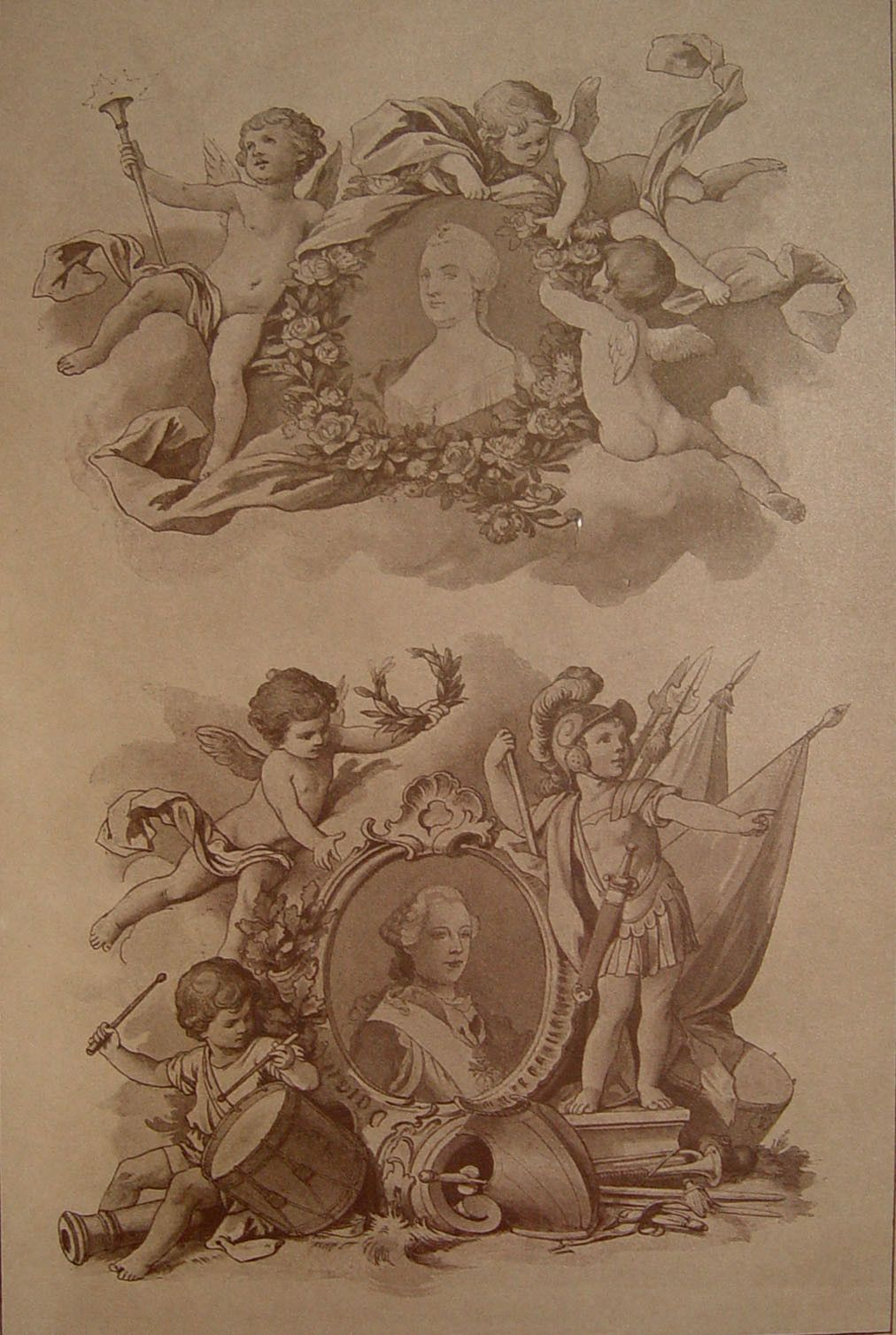1890s Renaissance Revival Lithograph Of Ornamentations With Cherubs Or Putti Published By Julius Hoffmann Germany From One His Decorative Folios