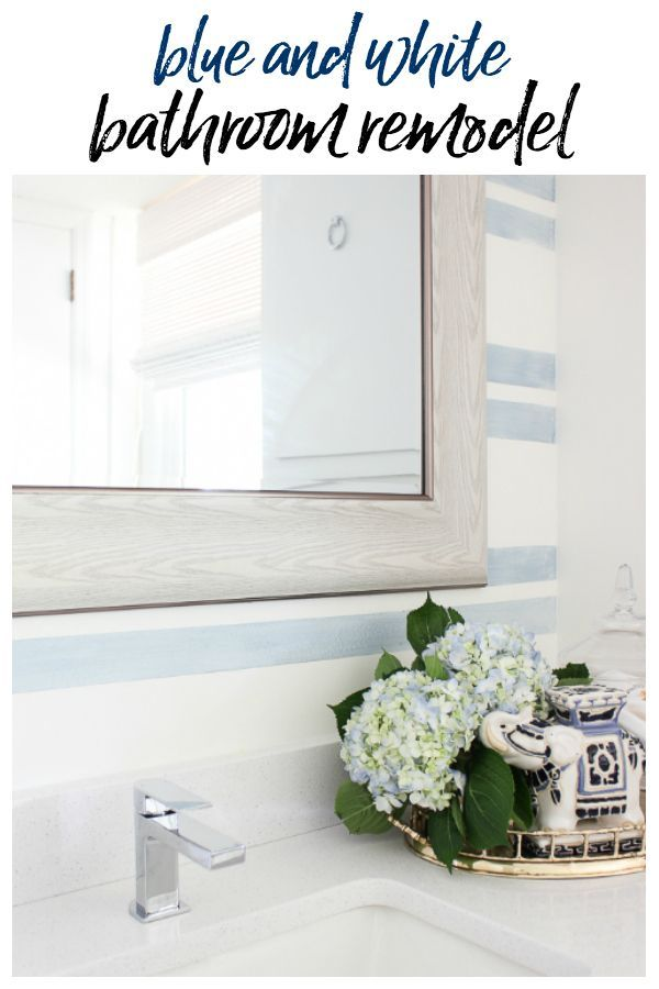 Blue and White Bathroom Remodel on a Budget Bathroom Decorating