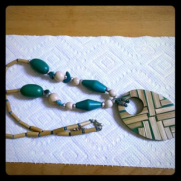 Necklace Turquoise, cream, silver beaded necklace. Never worn. Accessories