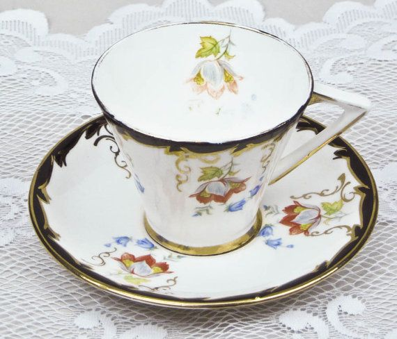English Bone China Teacup and Saucer Vintage Gladstone White Background with…