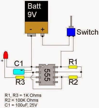 LED Flasher Circuit using 555 Timer IC | Electrical Engineering Blog
