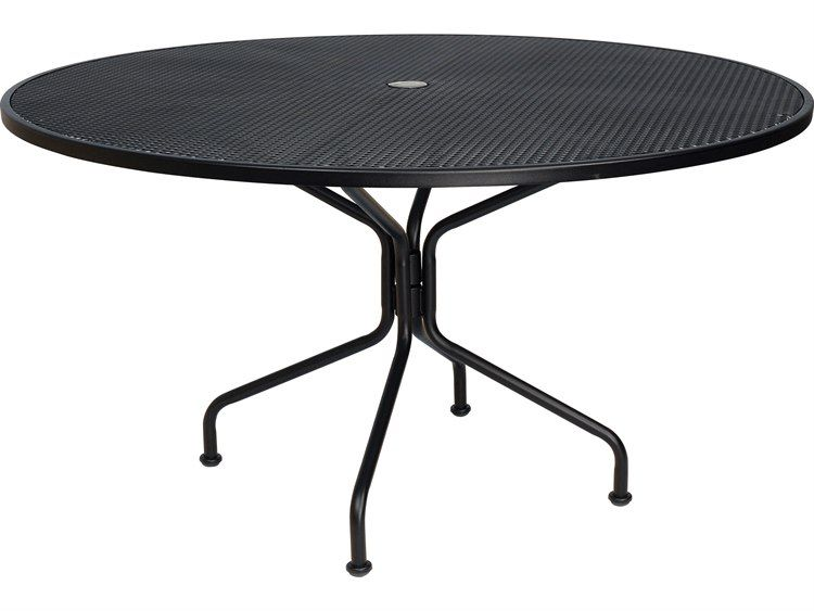 Woodard Wrought Iron 54 Round 8 Spoke Table With Umbrella Hole