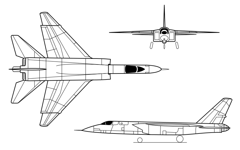 Orthographically projected diagram of the A-5A Vigilante