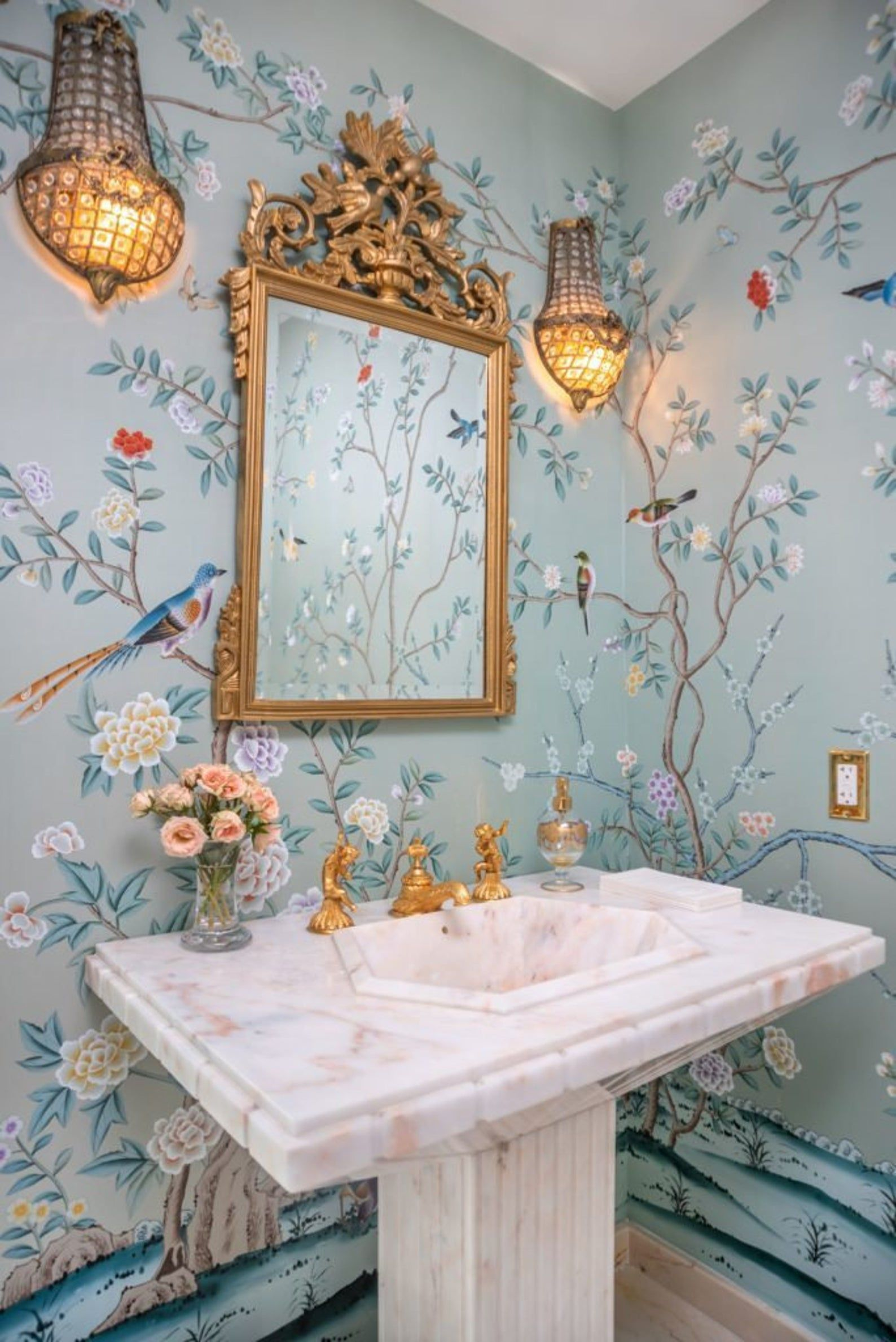 Contemporary hand-painted Chinoiserie  wall artwork----Design Earlham on Dyed silk