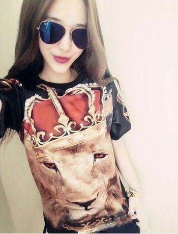Newest style 2014Lovers holdem denim gem lion male/female t-shirt short-sleeve women's 3D print  casual t-shirt fashion  $16.99