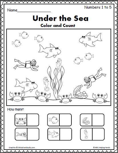 Under The Sea - Counting 1 To 5 - Madebyteachers Math Under The Sea, Sea  Activities, Math Activities Preschool