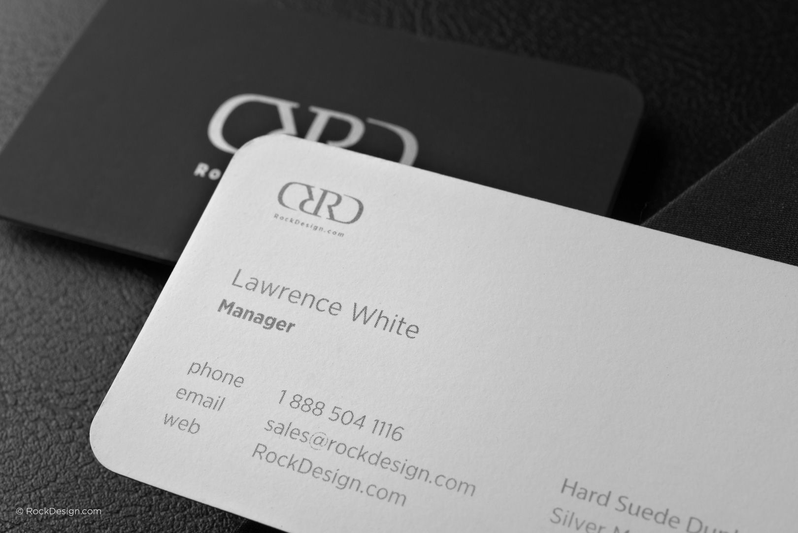 Modern black and white hard suede business card with rounded ...