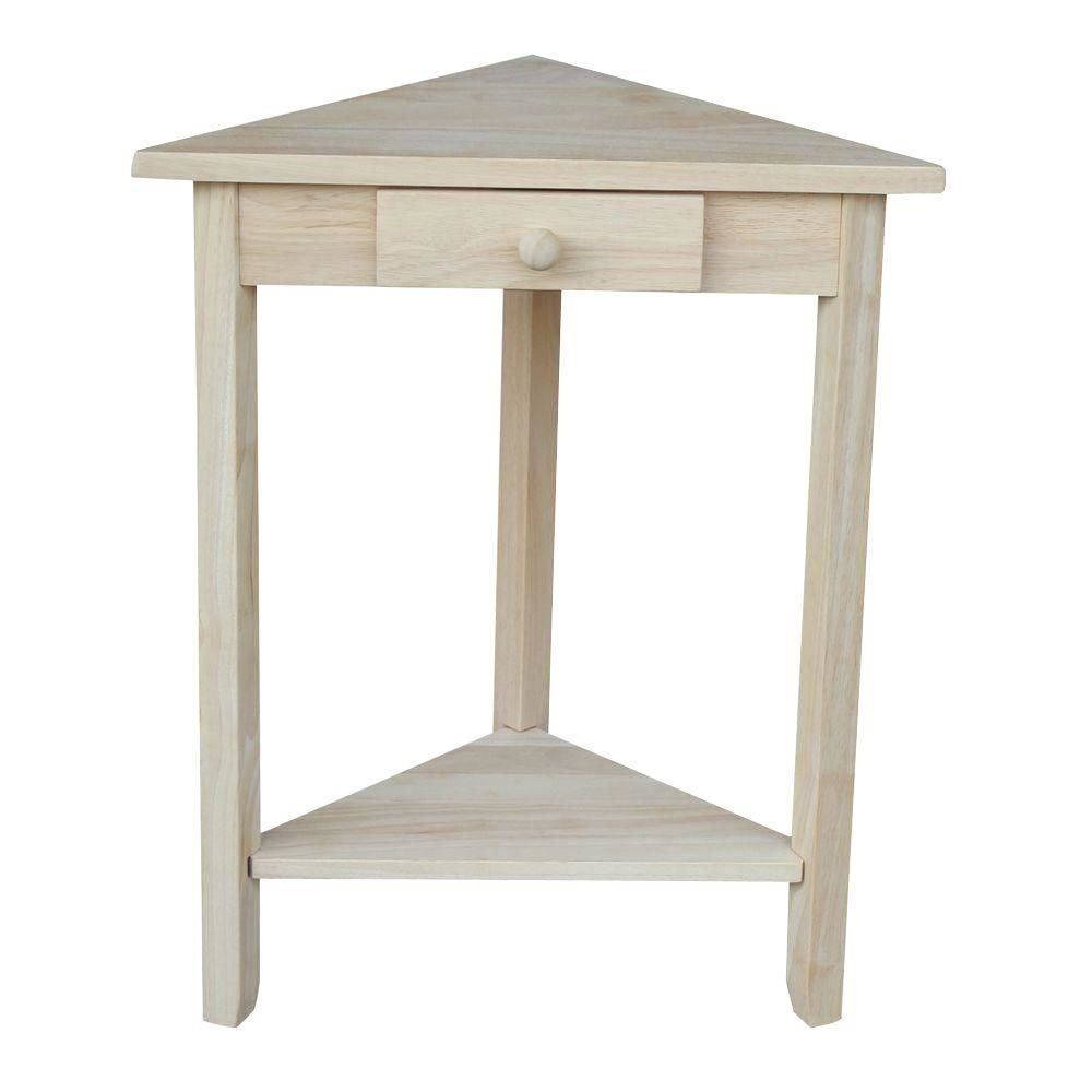 International Concepts OT 95 Corner Accent Table Unfinished