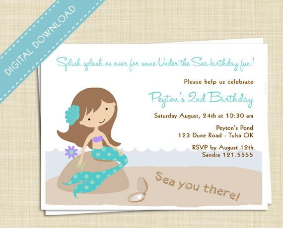 Little Mermaid, Pool Party Printable DIY Birthday Party Invitation - pool party invitation