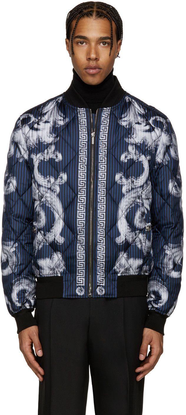 Versace - Blue Quilted Medusa Bomber Jacket | PIllage Village ... : quilted designer jackets - Adamdwight.com