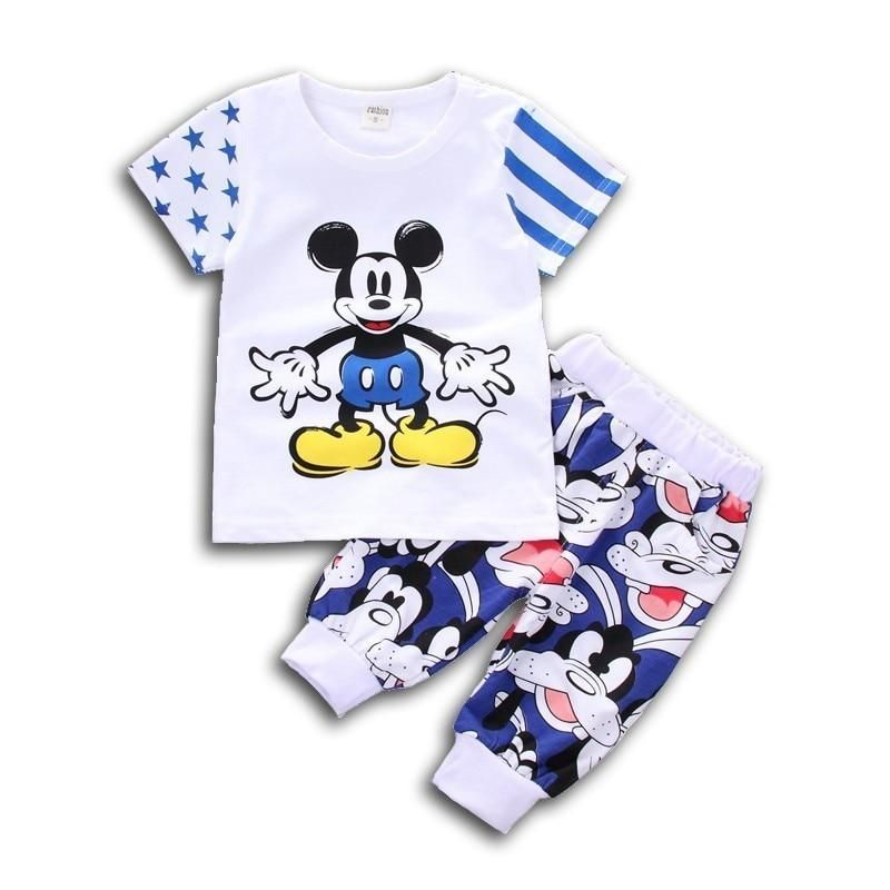 c3b457628f2a Baby Cartoon T-shirt Pants 2Pcs Set Summer Kids Sport Clothes Toddler  Tracksuit Fashion Children Boys Girls Cotton Clothing Sets