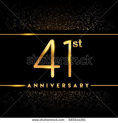 Forty one years anniversary celebration logotype 41st anniversary forty one years anniversary celebration logotype 41st anniversary logo with confetti golden colored isolated on stopboris Image collections
