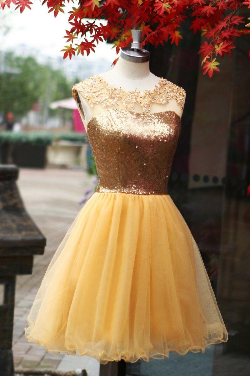 Elegant sleeveless gold sequin tulle short prom dressparty