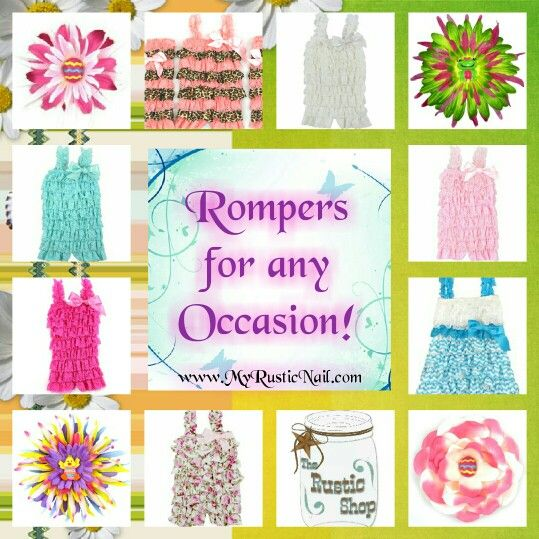 Kids Fashion and Rompers! Children's fashion in great colors and for all Season's available at Www.MyRusticNail.com