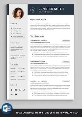 Professional Resume Template | Minimalist Resume | Clean Modern CV + Cover Letter Template for Word | Resume