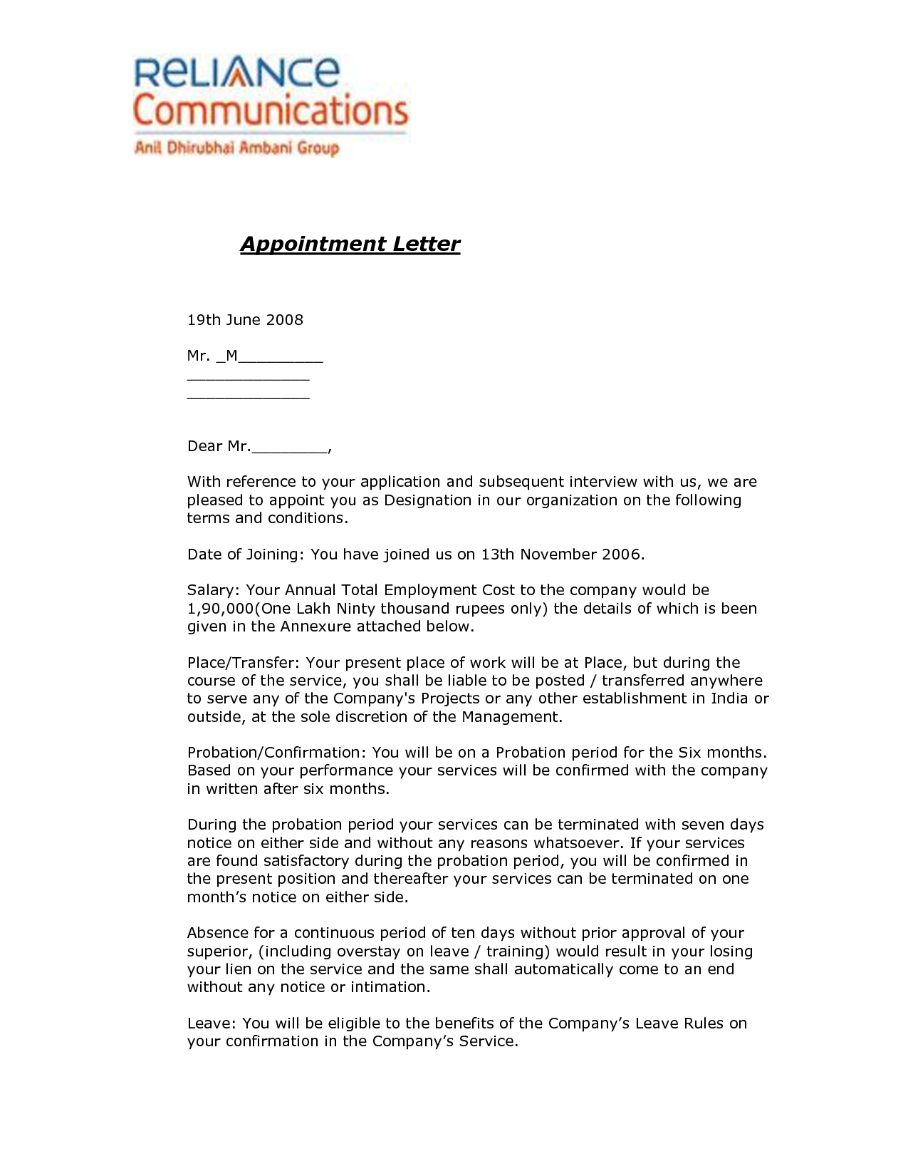Joining Letter Format For Offer Letter Format Legal