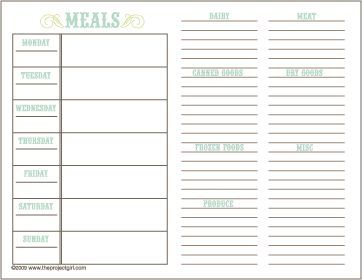 free printable menu planner and shopping list