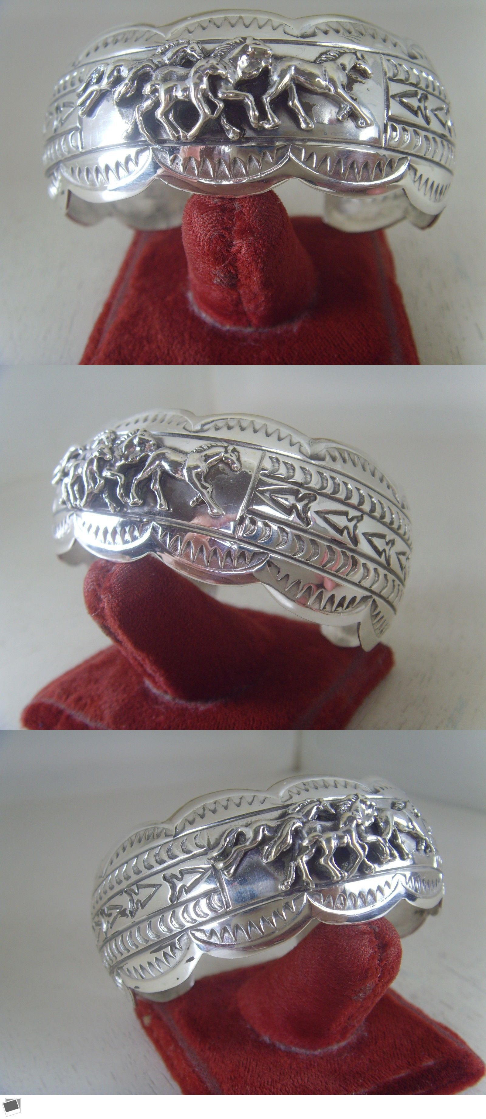 Bracelets 98496: Horse Bracelet .925 Sterling Silver And Signed By Carson B. Blackgoat No Stone -> BUY IT NOW ONLY: $169 on eBay!