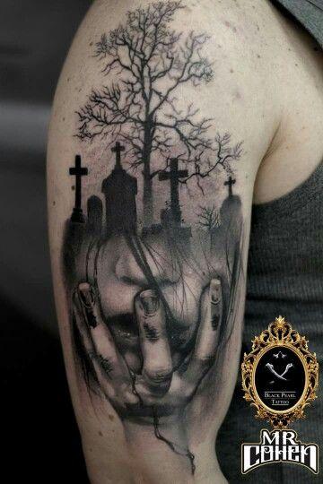 Graveyard Tattoos Graveyard Scene Tattoos Graveyard Tattoo Tattoos Haunted House Tattoo