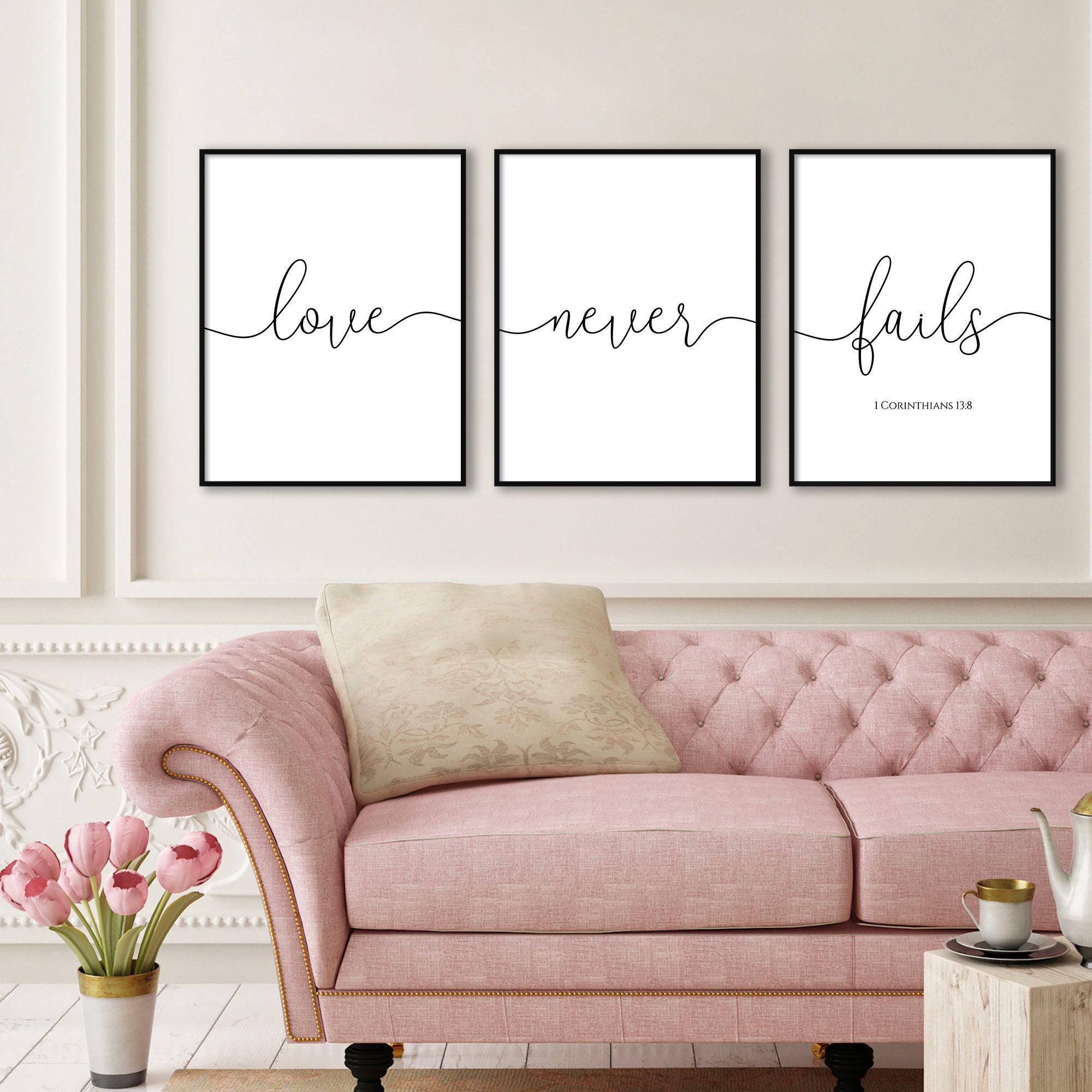 Love Never Fails 1 Corinthians 13 8 Quote Print Triptych Etsy Christian Wall Art Bible Verse Prints Family Decor